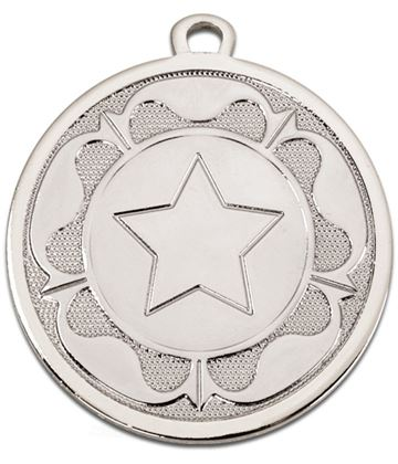 "Silver Galaxy Tudor Rose Medal 45mm (1.75"")"