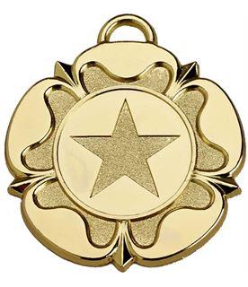 """Gold Tudor Rose Medal 50mm (2"""")"""