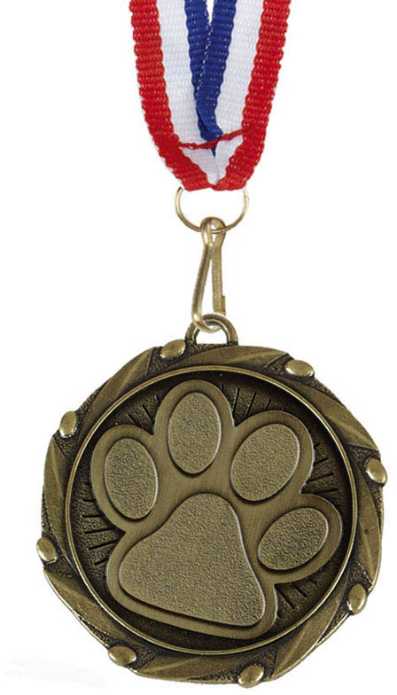 "Pet Paw Medal Gold With White, Blue & Red Ribbon 45mm (1.75"")"