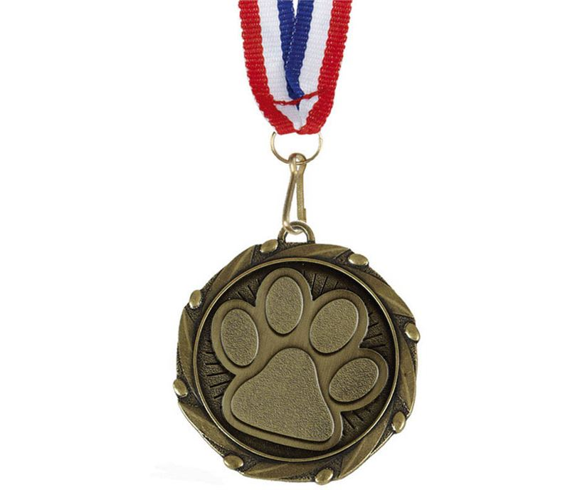 """Pet Paw Medal Gold With White, Blue & Red Ribbon 45mm (1.75"""")"""