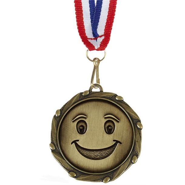 """Happy Face Medal Gold With White, Blue & Red Ribbon 45mm (1.75"""")"""