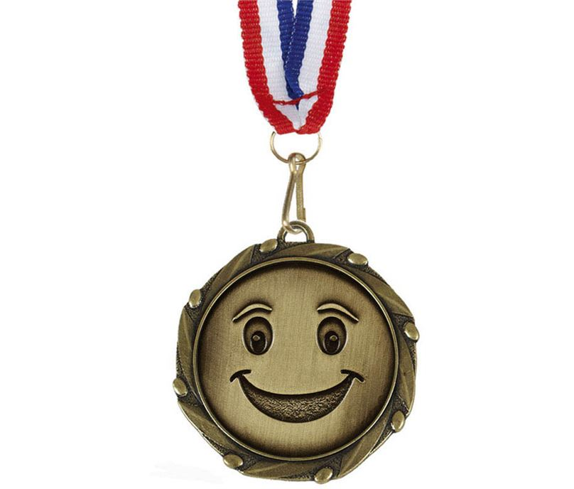"Happy Face Medal Gold With White, Blue & Red Ribbon 45mm (1.75"")"