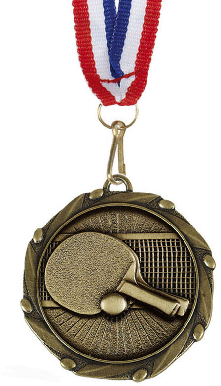 "Table Tennis Medal Gold With Red, White & Blue Ribbon 45mm (1.75"")"