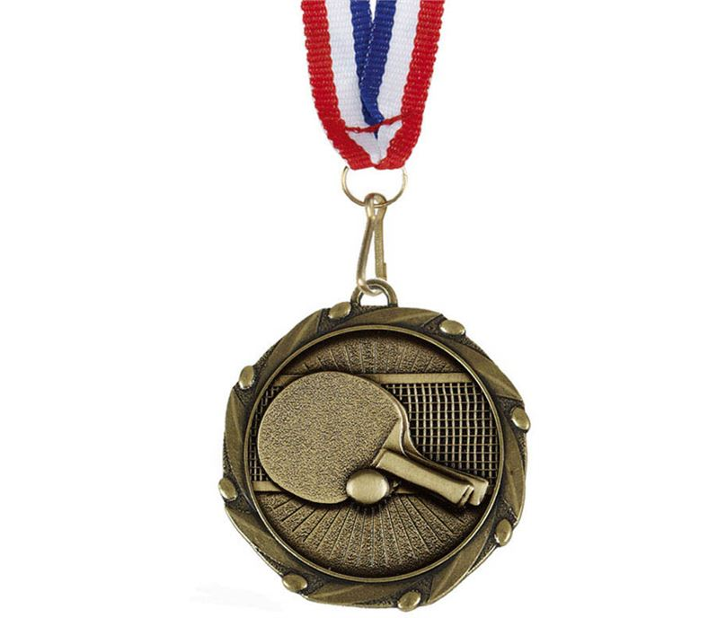 """Table Tennis Medal Gold With Red, White & Blue Ribbon 45mm (1.75"""")"""