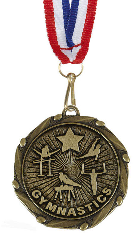 """Male Gymnastics Gold Medal with Red, White & Blue Ribbon 45mm (1.75"""")"""