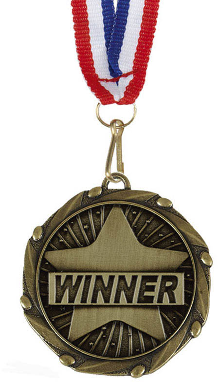 """Winner Gold Medal with Red, White & Blue Ribbon 45mm (1.75"""")"""