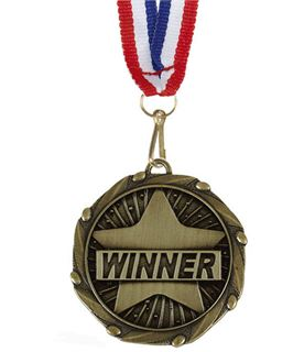 "Winner Gold Medal with Red, White & Blue Ribbon 45mm (1.75"")"