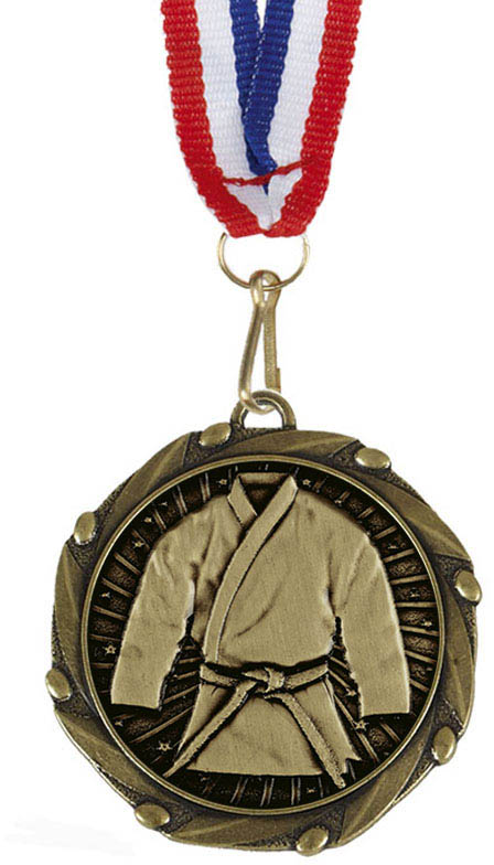 "Martial Arts Gold Medal with Red, White & Blue Ribbon 45mm (1.75"")"