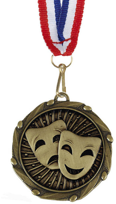 "Drama Gold Medal with Red, White & Blue Ribbon 45mm (1.75"")"
