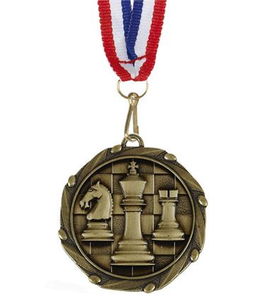 "Chess Gold Medal with Red, White & Blue Ribbon 45mm (1.75"")"