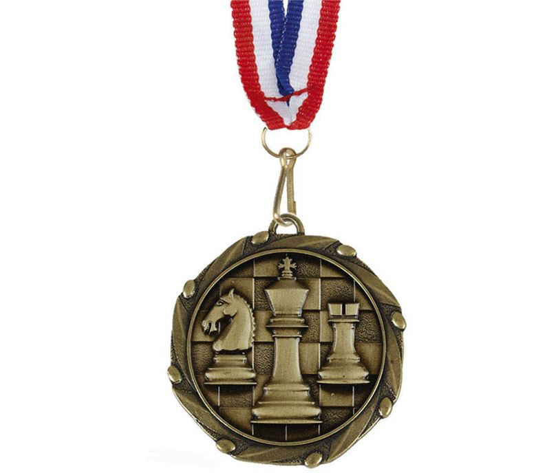 """Chess Gold Medal with Red, White & Blue Ribbon 45mm (1.75"""")"""