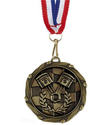 "Motorsport Gold Medal with Red, White & Blue Ribbon 45mm (1.75"")"