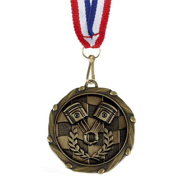 """Motorsport Gold Medal with Red, White & Blue Ribbon 45mm (1.75"""")"""