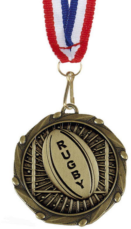 "Rugby Gold Medal with Red, White & Blue Ribbon 45mm (1.75"")"