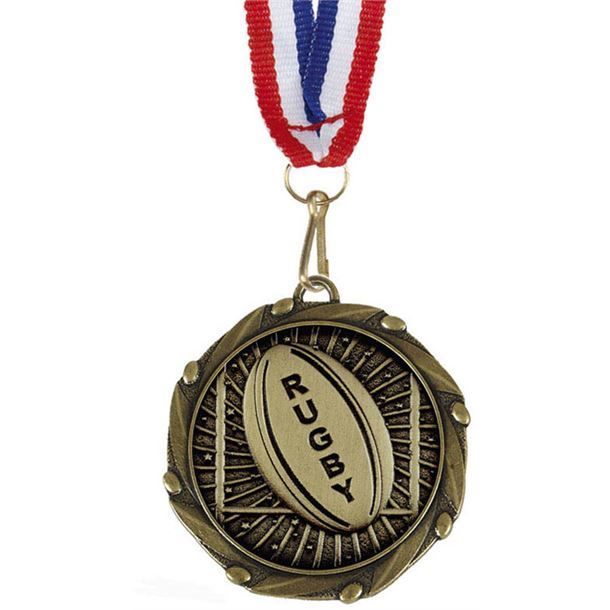 """Rugby Gold Medal with Red, White & Blue Ribbon 45mm (1.75"""")"""