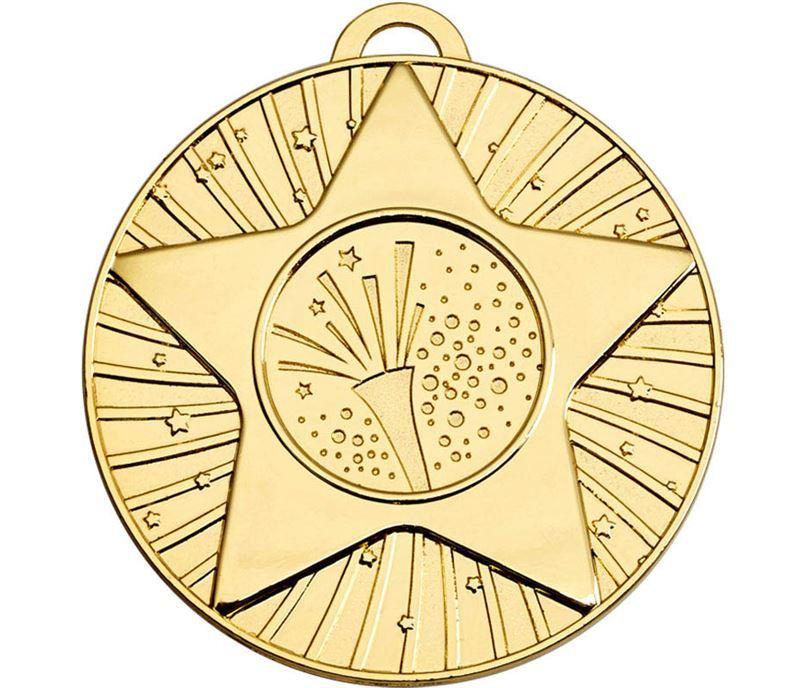 """Gold Star Burst Carnival Medal 60mm (2.25"""")"""