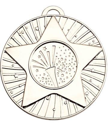 "Silver Star Burst Carnival Medal 60mm (2.25"")"