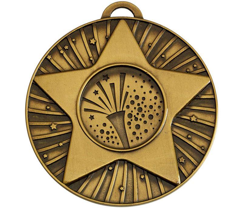 """Bronze Star Burst Carnival Medal 60mm (2.25"""")"""