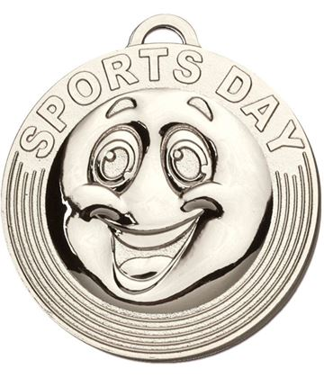"Sports Day Target Medal Silver 50mm (2"")"