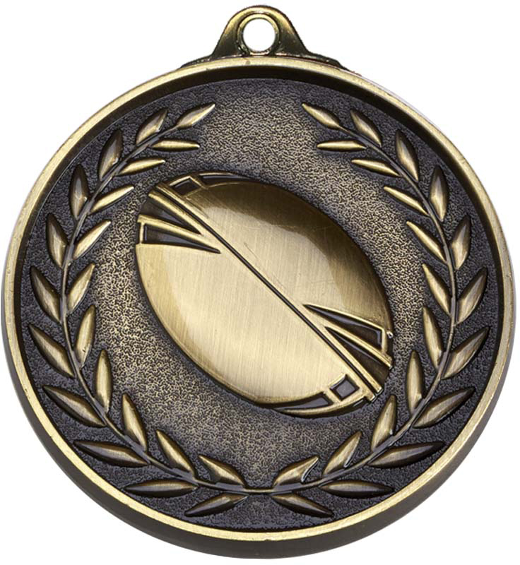 """Antique Gold Eternity Rugby Medal 50mm (2"""")"""