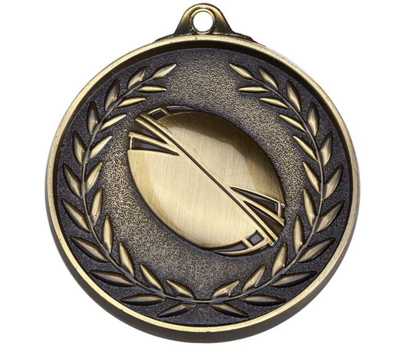 "Antique Gold Eternity Rugby Medal 50mm (2"")"