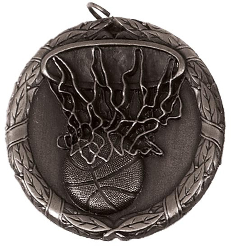 "Silver Laurel Basketball Medal 50mm (2"")"