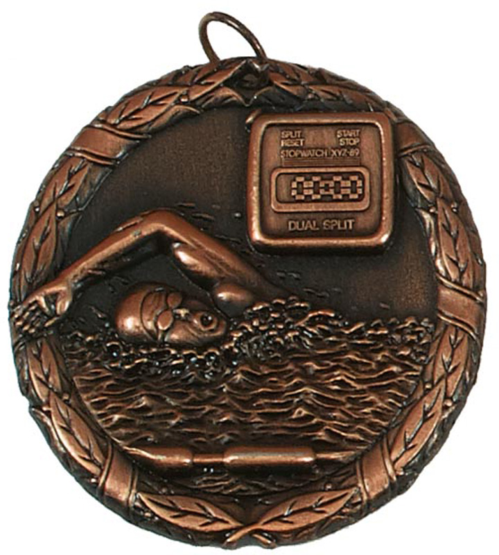 "Bronze Laurel Swimming Medal 50mm (2"")"
