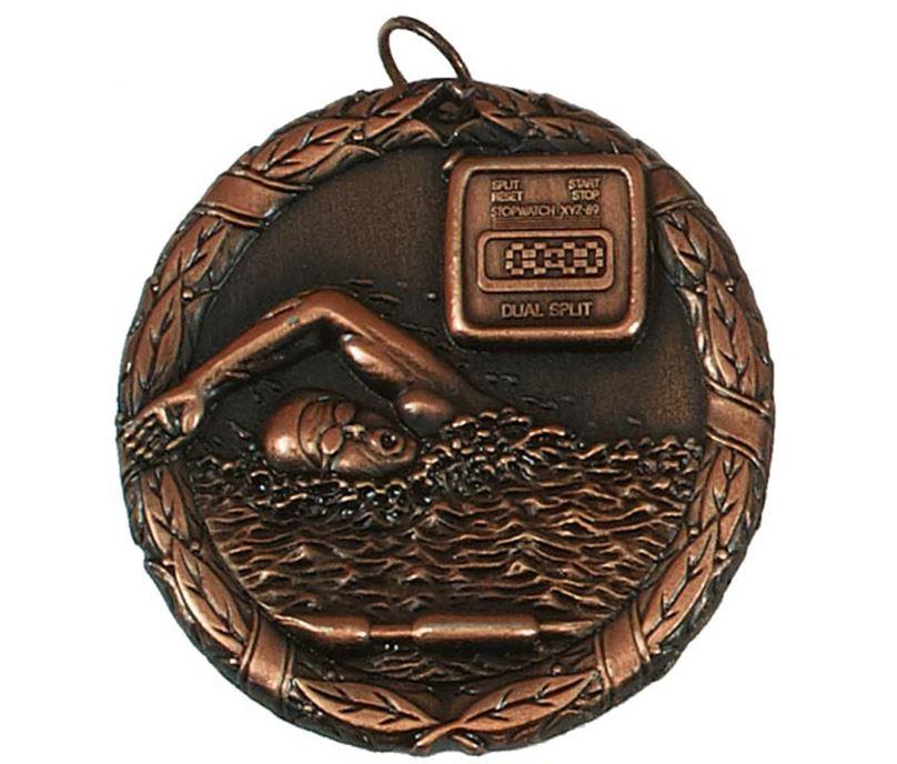 """Bronze Laurel Swimming Medal 50mm (2"""")"""