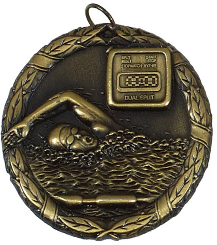 "Gold Laurel Swimming Medal 50mm (2"")"