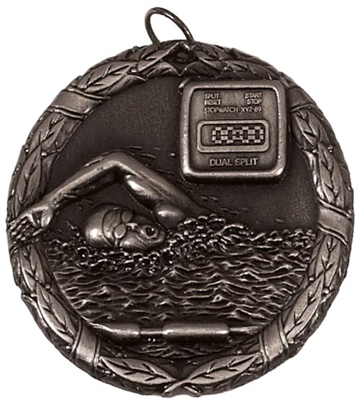 "Silver Laurel Swimming Medal 50mm (2"")"