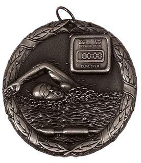 "Silver Laurel Swimming Medal 50mm (2"")"