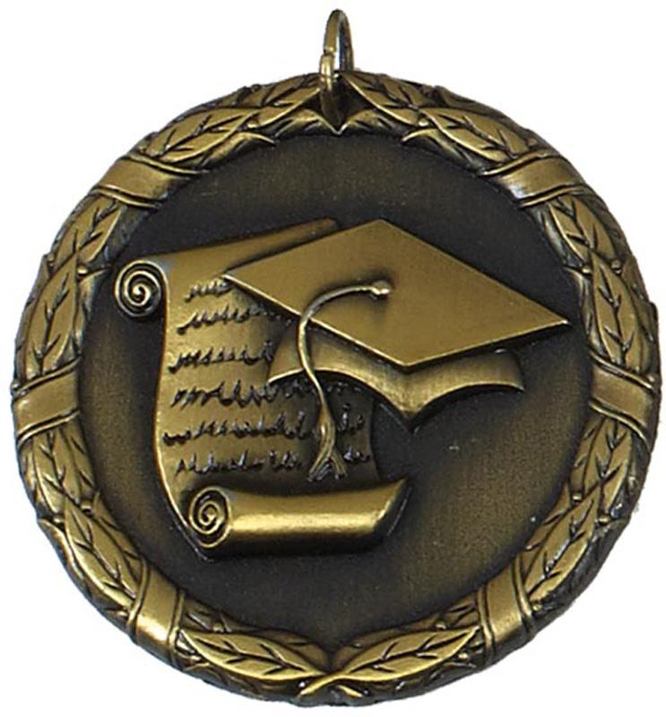 "Gold Laurel Wreath Academic Medal 50mm (2"")"