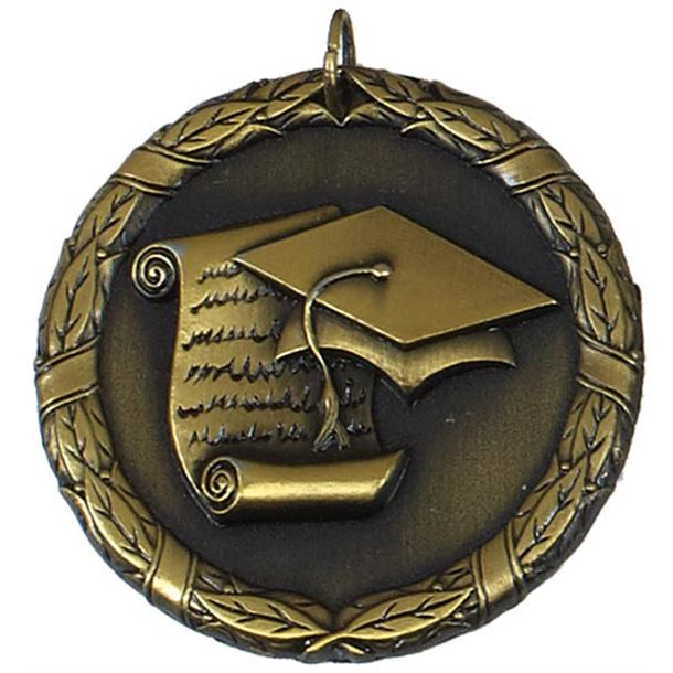 "Gold Laurel Wreath Academic Medal 50mm (2"")"