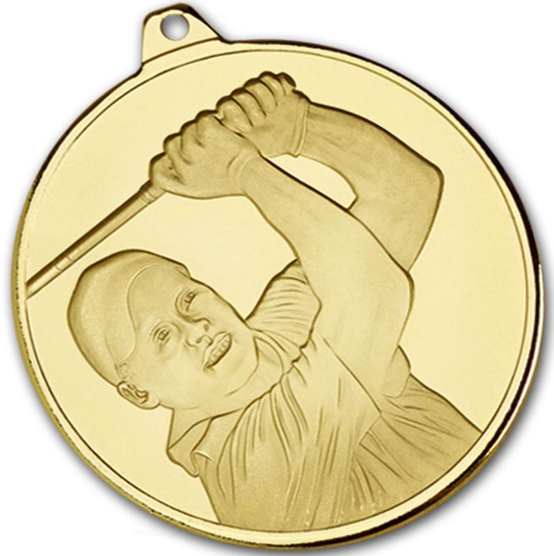 """Frosted Glacier Gold Golfer Medal 50mm (2"""")"""