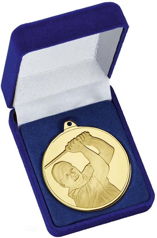 """Frosted Glacier Gold Golfer Medal in Case 50mm (2"""")"""
