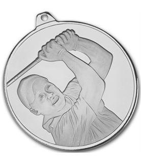"""Frosted Glacier Silver Golfer Medal 50mm (2"""")"""