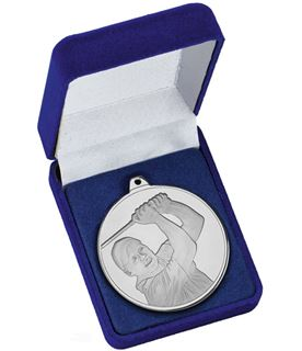 "Frosted Glacier Silver Golfer Medal in Case 50mm (2"")"