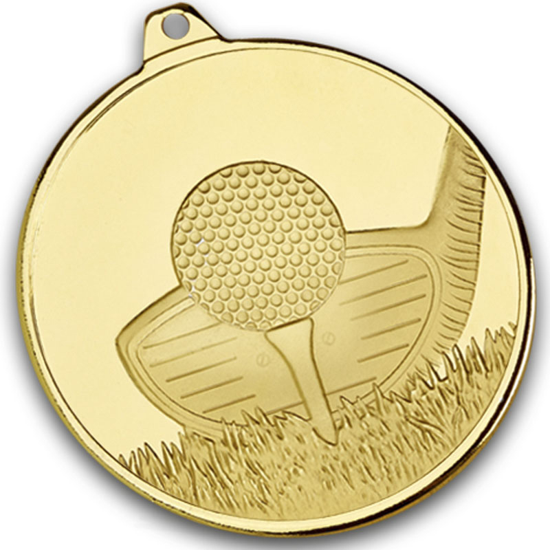 "Frosted Glacier Gold Golf Club Medal 50mm (2"")"