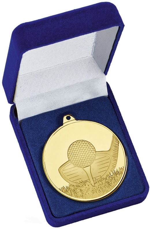"""Frosted Glacier Gold Golf Club Medal in Case 50mm (2"""")"""