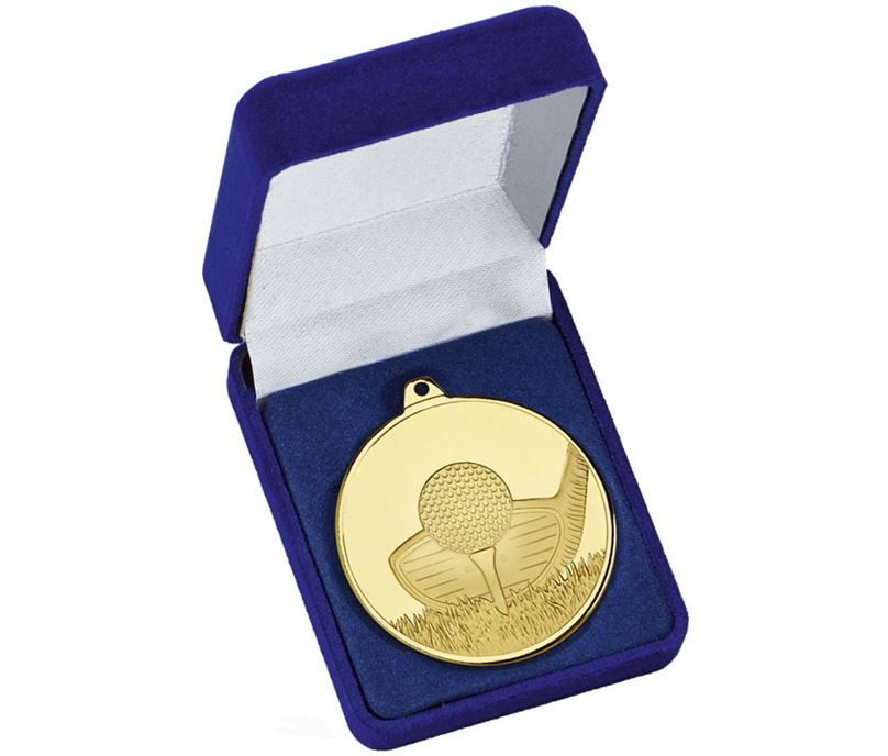 "Frosted Glacier Gold Golf Club Medal in Case 50mm (2"")"