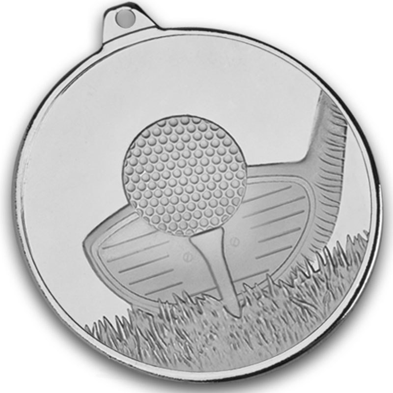 """Frosted Glacier Silver Golf Club Medal 50mm (2"""")"""