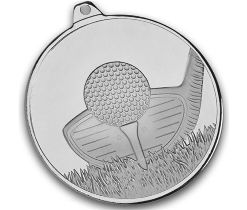 "Frosted Glacier Silver Golf Club Medal 50mm (2"")"