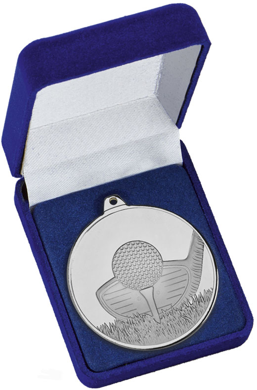 """Frosted Glacier Silver Golf Club Medal in Case 50mm (2"""")"""