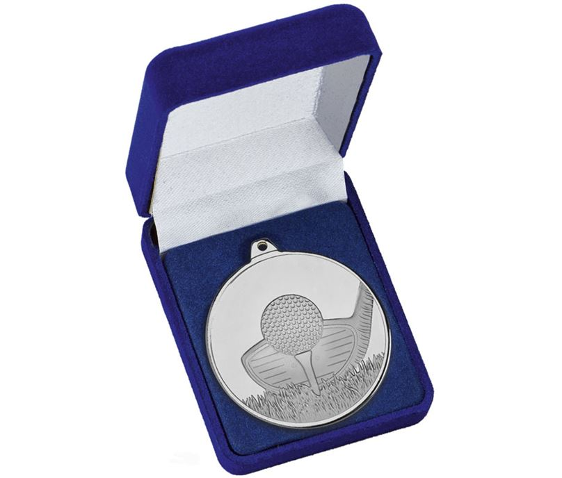 "Frosted Glacier Silver Golf Club Medal in Case 50mm (2"")"
