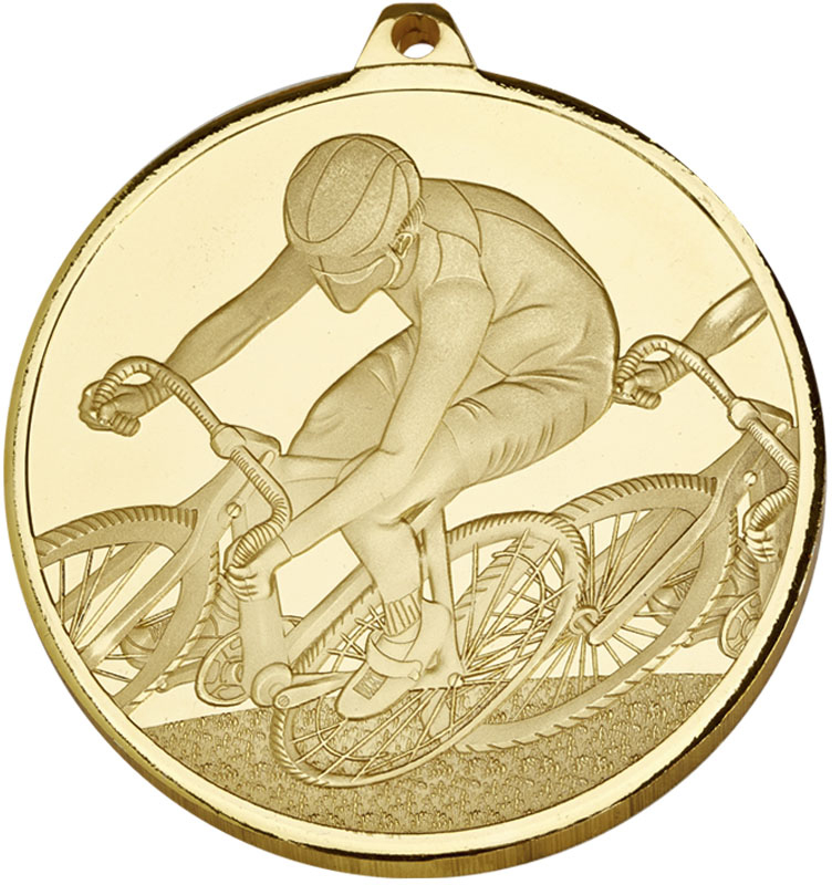 """Frosted Glacier Gold Cycling Medal 60mm (2.25"""")"""