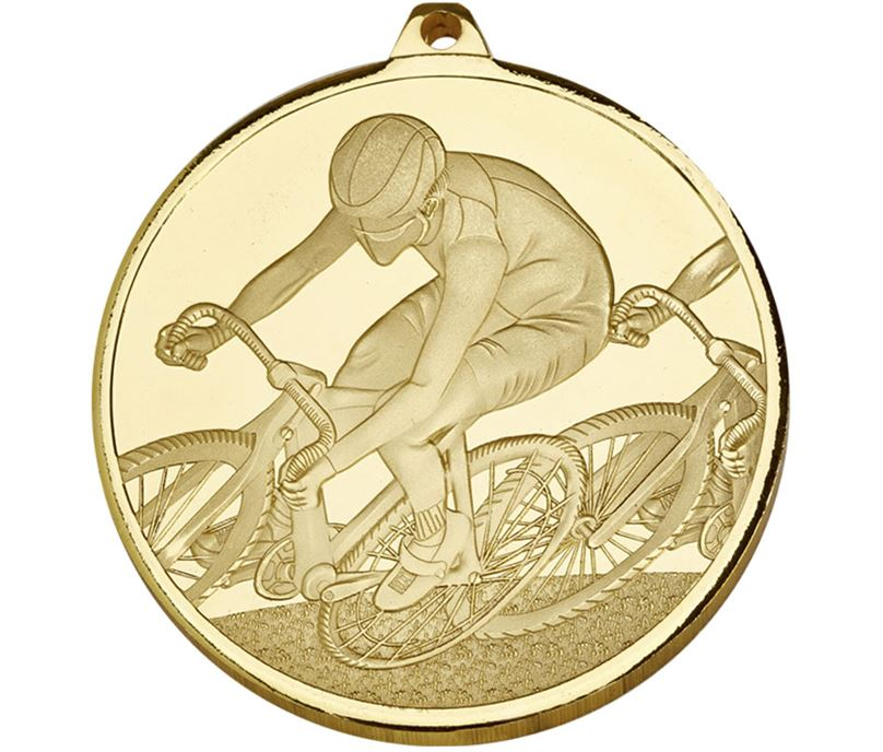 "Frosted Glacier Gold Cycling Medal 60mm (2.25"")"