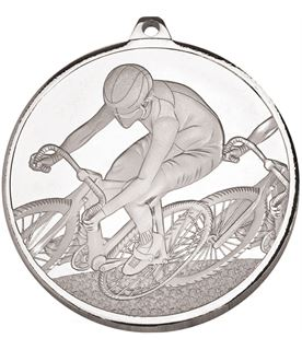 "Frosted Glacier Silver Cycling Medal 60mm (2.25"")"