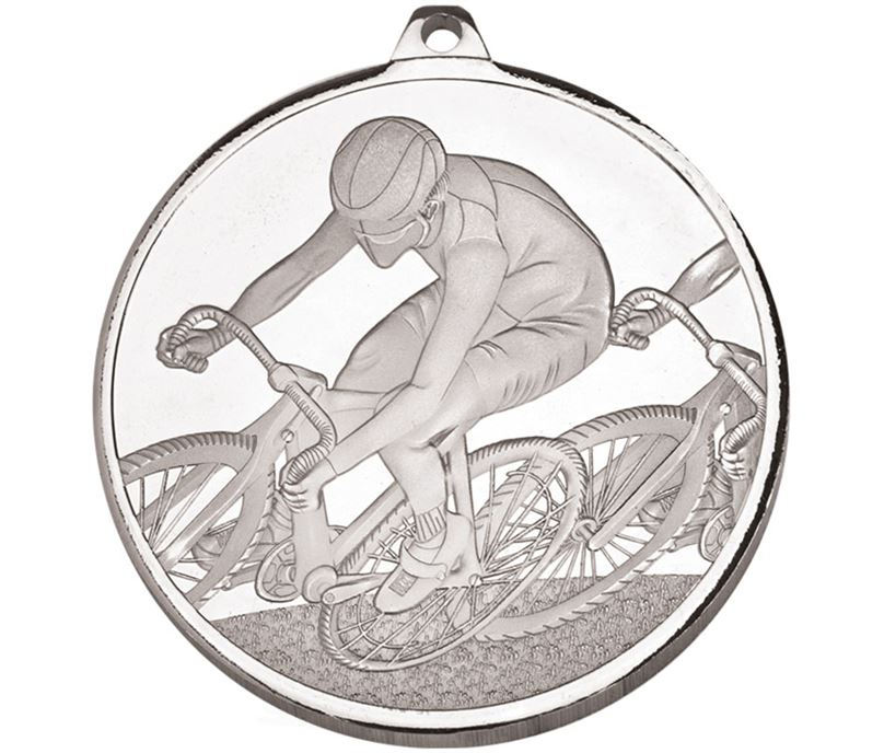 """Frosted Glacier Silver Cycling Medal 60mm (2.25"""")"""