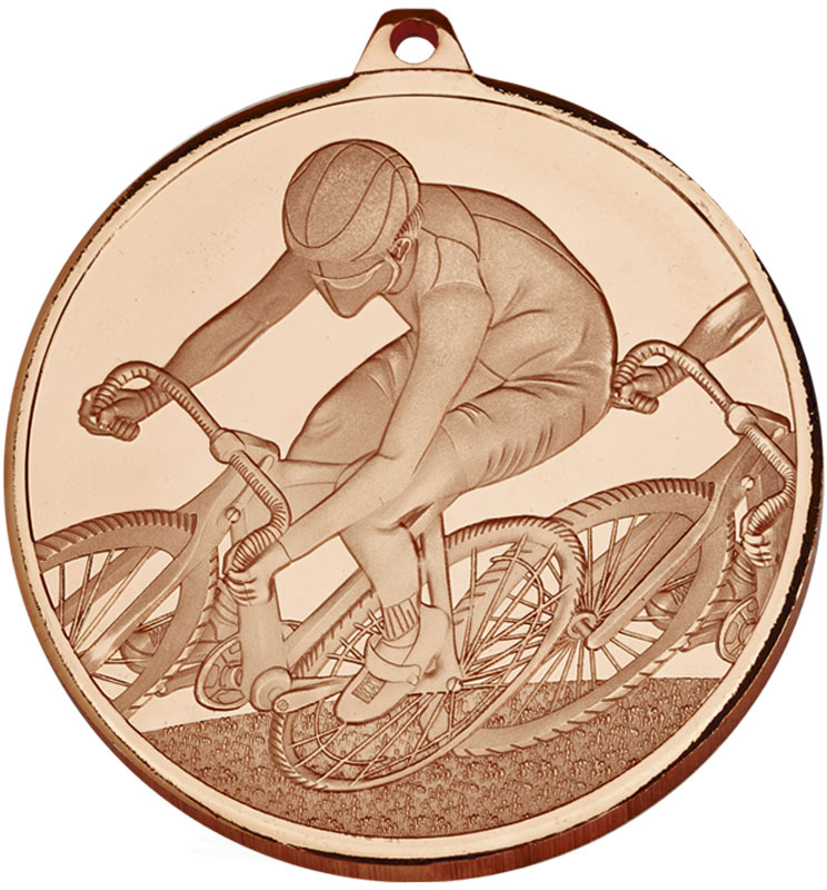 """Frosted Glacier Bronze Cycling Medal 60mm (2.25"""")"""