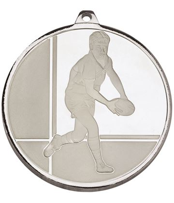 "Frosted Glacier Silver Rugby Medal 50mm (2"")"